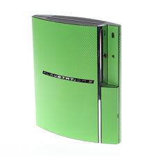 VERDE con trama in fibra di carbonio PLAYSTATION PS3 FAT Decalcomania Pelle Copertura Wrap