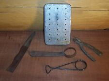 Vintage Antique Perrine Aluminum Fly Fishing Box, Medco Plyers, Scaler, Stringer