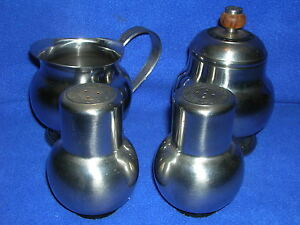 "Oneida ""New Era"" 18/8 stainless steel: creamer & sugar set, shaker set"