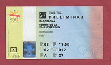 Billete Orig. Juegos Olímpicos Barcelona 1992-tenis // 03.08. muy RARO!!!
