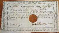 Connecticut CT 1790 Fiscal Paper-Comptroller/Ralph Pomeroy-Signed, Ten Shillings