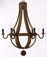 "New Large (32"") rustic wood and iron wine barrel chandelier"