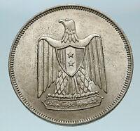 1960 1380AH EGYPT Eagle of SALADIN Antique Genuine Silver 20 Piastre Coin i84063