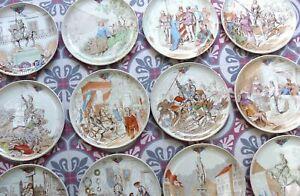 """Antique French 12pc Cabinet Plate Set JEANNE D ARC Theme Creil et Monterau 8.2"""""""