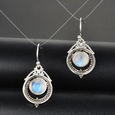 Vintage Boho 925 Silver Natural Moonstone Drop Dangle Hooks Earrings Wholesale