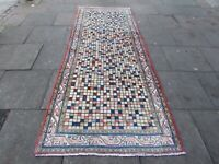 Vintage Hand Made Traditional Rug Oriental Wool Pink Blue Long Rug 309x122cm