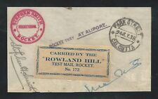 1938 INDIA rocket mail ROWLAND HILL signed Stephen H. Smith - EZ 40C1
