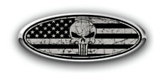 Ford Overlay PUNISHER Distressed US Flag Black/Grey Logo Overlay Decals 3PC Kit!