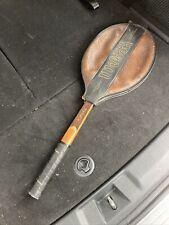 "WILSON ADVANTAGE Vintage Wood Tennis Raquet Strata-Bow Light 4 3/8"" With Cover."