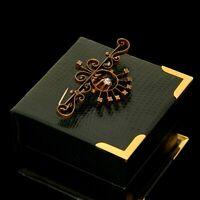 Antique Vintage Nouveau 14k Gold Filled GF Faux Diamond Paste Swirl Pin Brooch