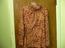 ANIMAL PRINT COWL NECK WOMENS SHIRT SIZE XL LONG SLEEVES