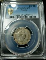 PCGS Prussia 1/6 Thaler MS 62 1862 Silver Coin Germany German State Unc Portrait