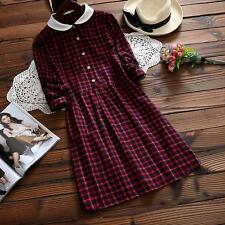 Mori Girl Long Sleeve Artistic Doll Collar Lattice Swing Plaid Women Dress