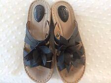 CLARKS Women's 8.5 M Black Leather Slip-On Slides Sandals Shoe