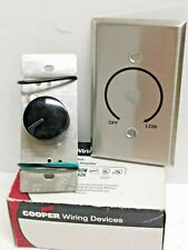 COOPER Rotary Fan Speed Control 6005BK;1 Single Pole 5A 120VAC Black / Stainless