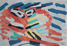 KAREL APPEL-Dutch Expressionist-Hand Signed Lim Ed. Color Serigraph-Abstract