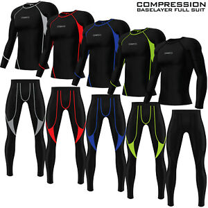 Mens Gym Compression Tights + Top Base Layer Yoga Jogging Jogger Full Suit Set