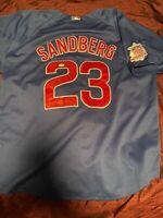 Ryne Sandberg Chicago Cubs Autographed Signed Jersey HOF Inscription JSA COA