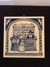 """Handmade Delft Tile Pharmacy Apothecary Tile 6"""" X 6"""" Mother And Daughter"""