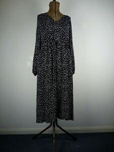 John Lewis Polka Dots Printed Midi Dress UK12  Black/White PtoP52, L110 CM