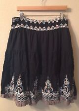Embroidered Skirt XL Women's Boho Black Short Western Cowgirl Embroidered Print