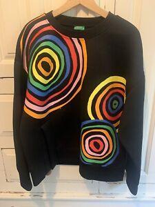 United Colours Of Benetton Black Sweatshirt Retro Design Size Medium