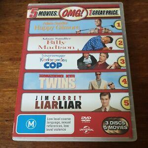 Happy Gilmore Billy Madison Kindergarten Cop Twins Liar Liar R4 5 DVD Pack