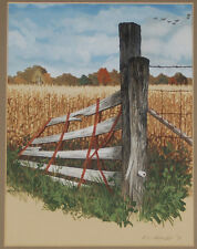 Rural Farm Landscape Painting Split Rail Gate Barbed Wire Fence Cornfields Geese