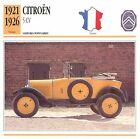 Citroën 5 CV 4 Cyl. 1921-1926 France CAR VOITURE CARTE CARD FICHE