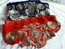 2 in 1 designer broad (red+royalblue)velvet  lace for multi purpose use (4+4mtr)