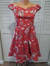 NWT Hell Bunny Blitzen Christmas Santa Pin-Up 50's style Party Fancy Dress Sz S