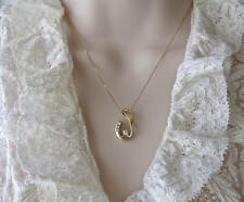 0.25 Carat D/VVS1 Diamond 14K Solid Yelow Gold Over Fancy Pendant Necklace