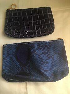 ESTEE LAUDER Navy Blue Animal Print Makeup Bags 2 Piece Set - New