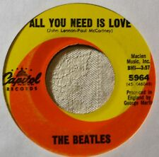 "Beatles All You Need is Love Orig 45 7"" Vinyl Strong VG to VG+ Plays Well #B"