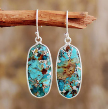 Large Natural Turquoise Sterling Silver Inlay Drop/Dangle Blue Hook Earrings