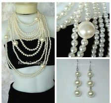 Pearl Oversized Statement Necklace Large Huge Chunky Long Fashion Women Earring