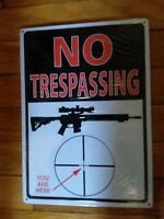 Trespassing Warning Sign Property Gun Metal Tin Advertising Riversedge New