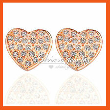 9K GOLD GF E68 LOVE HEART WEDDING SIMULATED DIAMOND CRYSTALS LADY SOLID EARRINGS