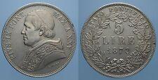 PIO IX 5 LIRE 1870 A.XXV ROMA qSPL