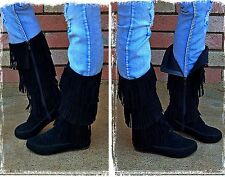 Women's Black Three Layer Fringe Suede Boots Size-6