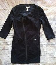 Diesel black denim zipper Jacket dress 3/4 SLEEVE mini XS -A8