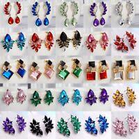 Fashion Women's Crystal Rhinestone Wing Flower Ear Stud Drop Earrings Jewellery