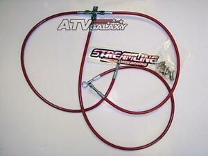 "Streamline Steel Braided Front Brake Lines +2"" Red Yamaha YFZ450 YFZ 450"
