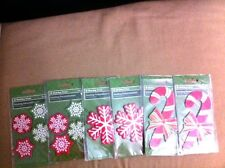 Lot of 6 NEW Holiday Time Christmas Shapes ~ Candy Canes ~ Snowflakes