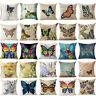 18'' Butterfly Cotton Linen Throw Pillow Case Sofa Cushion Cover Home Decor