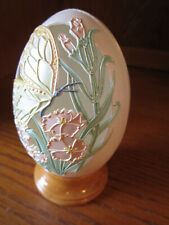 """Enesco Joanne Hunot Collector Egg with Cutout Green Butterfly Design 4"""" T"""