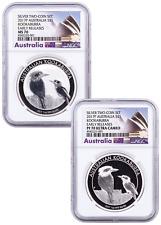 2017-P Australia 1 oz Silver Kookaburra 2-Coin Set NGC MS70+PF70 Early Release