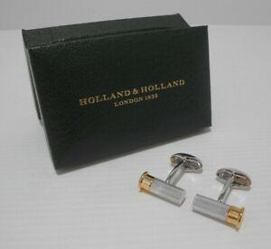 BNIB Holland and Holland Cartridge Cufflinks Rhodium gold plated NEW rrp £290