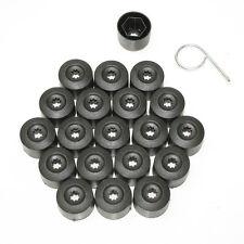 17mm Black Car Wheel Nut Bolt Covers Caps Fits Audi A4 A6 A8 20pcs