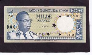 Congo  1000 Francs 1964 Cancelled P-8a  AU/UNC